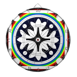 Abstract Flower Leaves Design Dartboard With Darts