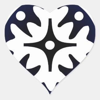 Abstract Flower Leaves Design Heart Sticker