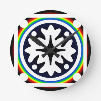 Abstract Flower Leaves Design Round Clock