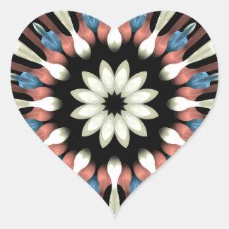 Abstract Flower Mandala Heart Sticker