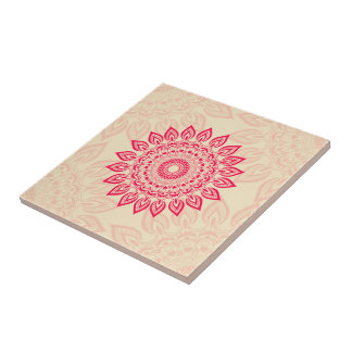 Abstract Flower Ornament Tile In Boho Style