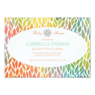 Abstract Flower Petals- 3x5 Baby Shower Invitation