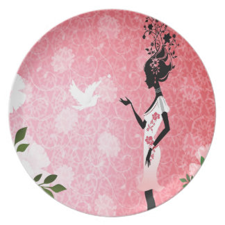 Abstract Flower Pink Love Of Dove Dinner Plate