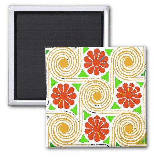 Abstract Flowers and Circles Square Magnet