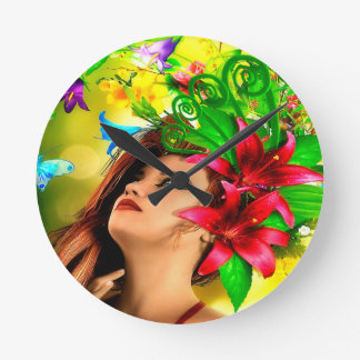 Abstract Flowers and Girl Clocks