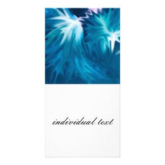 abstract flowers aqua custom photo card