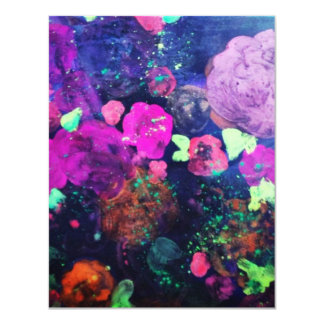 Abstract Flowers Blank Card 11 Cm X 14 Cm Invitation Card