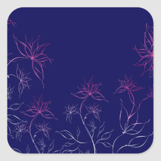 Abstract Flowers Blue Abstract Square Sticker