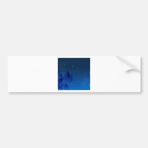 Abstract Flowers Blue Fly Bumper Sticker