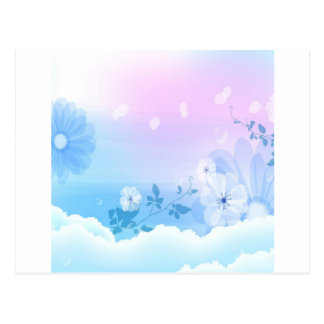Abstract Flowers Blue Sky Postcard