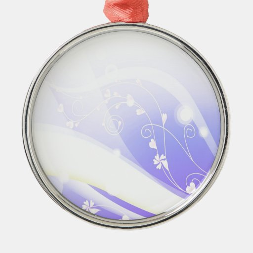 Abstract Flowers Blue Wave Ornaments