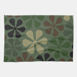 Abstract Flowers Camouflage Tea Towel