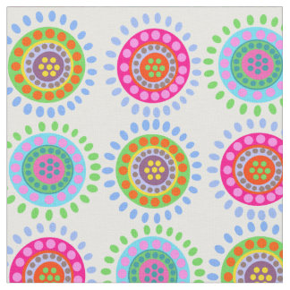 Abstract flowers colorful pattern fabric