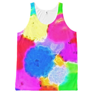Abstract Flowers Design in Neon Rainbow Colors All-Over Print Tank Top