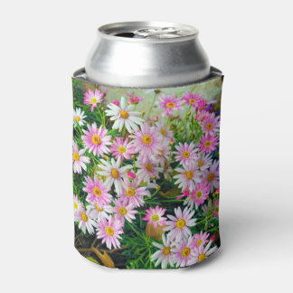 Abstract flowers drawing Can Cooler