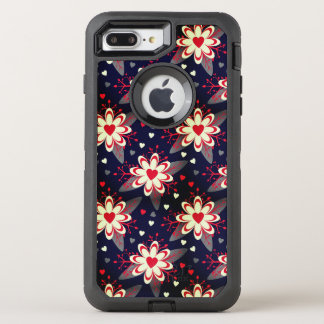 Abstract Flowers & Hearts Pattern OtterBox Defender iPhone 8 Plus/7 Plus Case