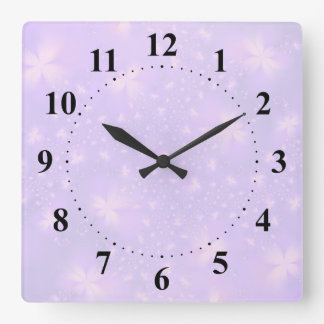 Abstract Flowers in Lilac and Pink Square Wall Clock
