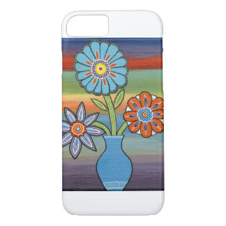 Abstract Flowers on Colorful Background iPhone 7 Case