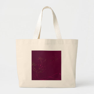 Abstract Flowers Purple Abstract Jumbo Tote Bag