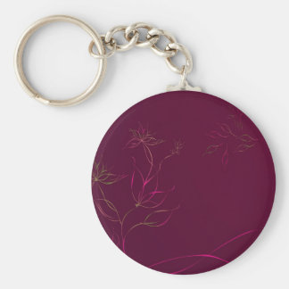 Abstract Flowers Purple Abstract Keychains