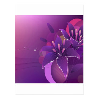Abstract Flowers Purple Lillies Postcard