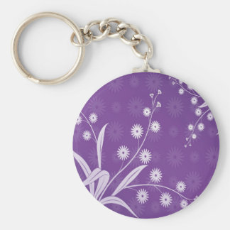Abstract Flowers Purple Pattern Basic Round Button Key Ring