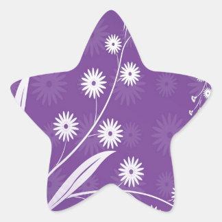 Abstract Flowers Purple Pattern Star Sticker
