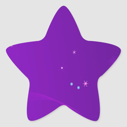 Abstract Flowers Purple Sky Star Sticker