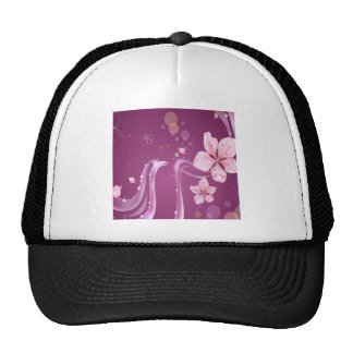 Abstract Flowers Purple Wave Mesh Hat