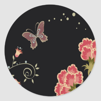 Abstract Flowers Warm Colors Black Butterfly Round Stickers