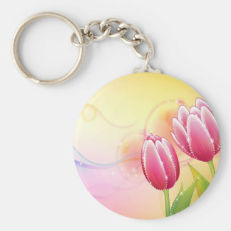 Abstract Flowers Warm Colors Gem Tulip Keychain