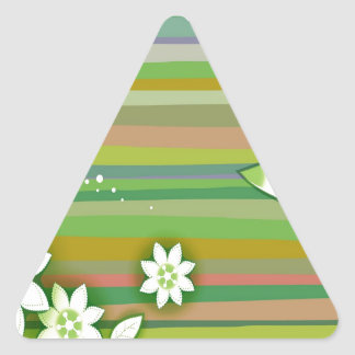 Abstract Flowers Warm Colors Green Stickers