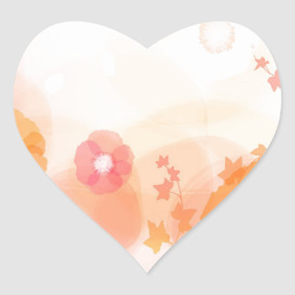 Abstract Flowers Warm Colors Leaf Splash Heart Stickers