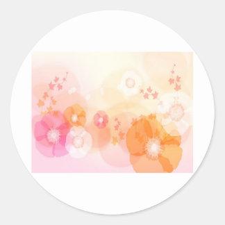 abstract flowers warm colors leaf splash round sticker