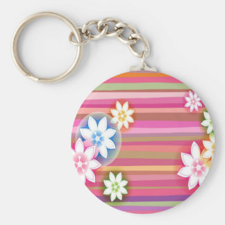Abstract Flowers Warm Colors Pink Stripes Basic Round Button Key Ring