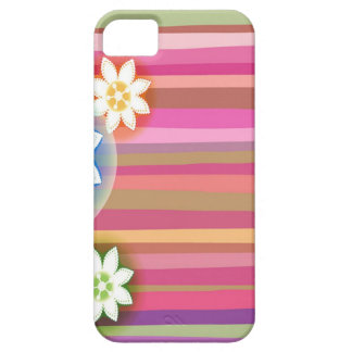 Abstract Flowers Warm Colors Pink Stripes iPhone 5 Case