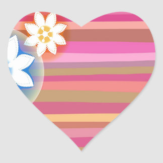 Abstract Flowers Warm Colors Pink Stripes Sticker