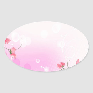 Abstract Flowers Warm Colors Romance Abstract Oval Stickers