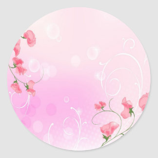 Abstract Flowers Warm Colors Romance Abstract Round Stickers