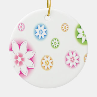 Abstract Flowers White Abstract Ornament