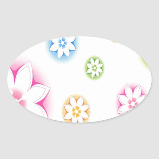 Abstract Flowers White Abstract Oval Sticker
