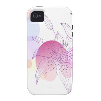 Abstract Flowers White Lilly iPhone 4/4S Cases