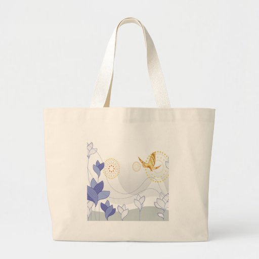 Abstract Flowers White Nature Canvas Bags
