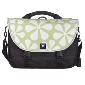 Abstract Flowers White on Lime Commuter Bag