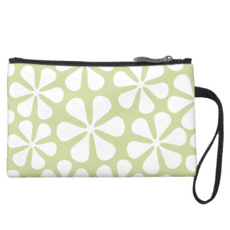 Abstract Flowers White on Lime Wristlet Purse