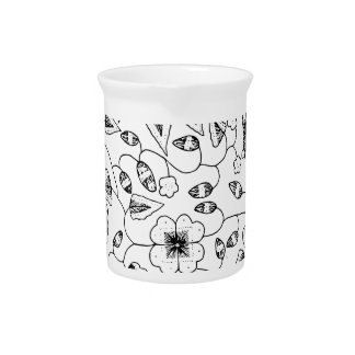 Abstract Flowery Indonesian Textile Drink Pitchers