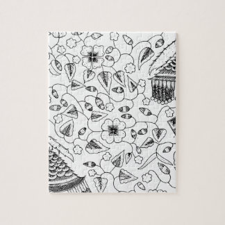 Abstract Flowery Indonesian Textile Jigsaw Puzzle