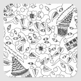 Abstract Flowery Indonesian Textile Square Sticker