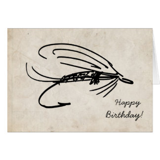 Abstract Fly Fishing Birthday Card