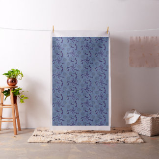 Abstract Folk Purple Blue Floral Pattern Fabric